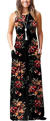 ZZER Women Sleeveless Floral Racerback Loose Plain Maxi Dresses Casual Beach Long Dresses with Pockets(RedBlack2,L)