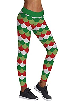 COCOLEGGINGS Womens Digital Print Christmas Costume Sweater Leggings Elf Tights