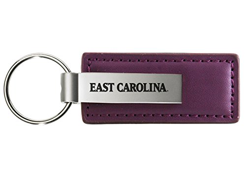 East Carolina University - Leather and Metal Keychain - Purple