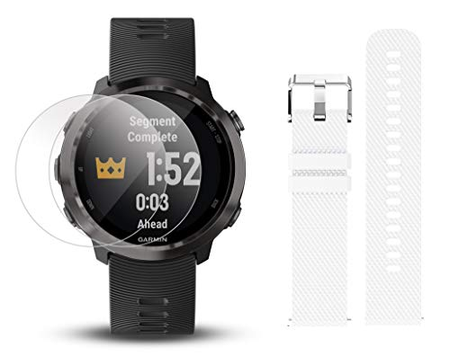 Garmin Forerunner 645 Music Bundle with Extra Band & HD Screen Protector Film (x4)   Running GPS Watch, Wrist HR, Music & Spotify, Garmin Pay (Slate + Music, White) by PlayBetter (Image #1)