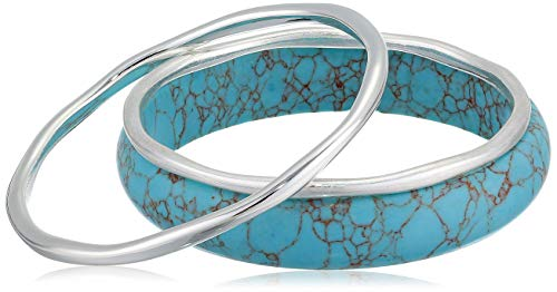 Robert Lee Morris Soho Women's Silver Bangle Bracelet Set, Turquoise, One Size