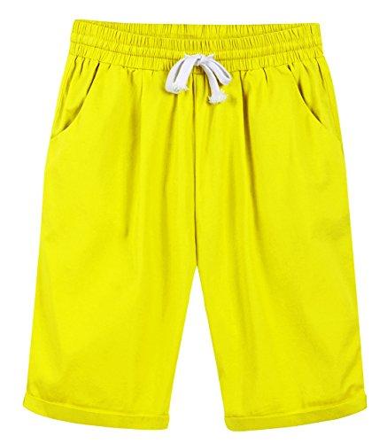 Chartou Women's Casual Elastic Waist Knee-Length Curling Bermuda Shorts (X-Small, Yellow) ()