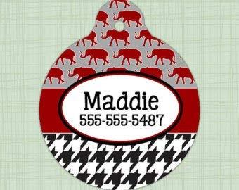QM - Custom Pet ID Tag Circle Alabama Crimson Tide Print, Personalized Dog Tag, Identification Name tag, Cat Tag, Lunch Box Tag, Bag Tag