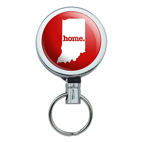 Indiana in Home State Solid Red Officially Licensed Heavy Duty Metal Retractable Reel ID Badge Key Card Tag Holder with Belt Clip
