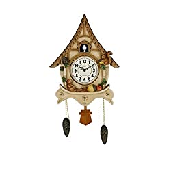 SMC 27.5 Inch Rural Wood Huts Animal Cuckoo Clock Wall Decoration Wall Clock
