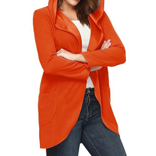 Automne Slim Unie Couleur Orange Outwear Poches Châle Mesdames Manches Doux Sweat Deux Longues Veste 1wP4gqY