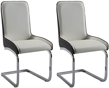 Milan Sophie Grey and White 2-Tone Dining Chair Set of 2