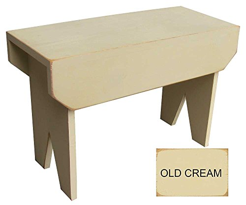 Sawdust City 2 ft Wood Bench long (Old Cream) by Sawdust City