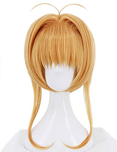 (Anogol Hair Cap+Anime Cosplay Blonde Yellow Short Synthetic Wig for Girl)