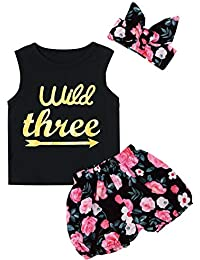 3d750379a3 Baby Girls Floral Outfit Set Wild One 3Pcs Vest Skirt with Headband