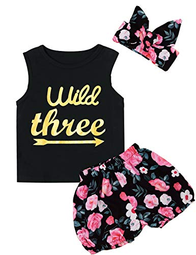 Little Girls Floral Outfit Set Wild Three 3Pcs Vest Skirt with Headband (3T, Black Three)