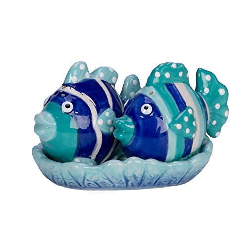 (Beachcombers SS-BCS-03690 Ceramic Fish Salt and Pepper Shaker with Tray Set, Tropical Ocean)