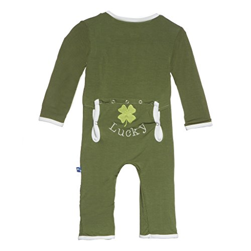 KicKee Pants Little Boys Applique Coverall- Moss Clover, 3- 6 Months
