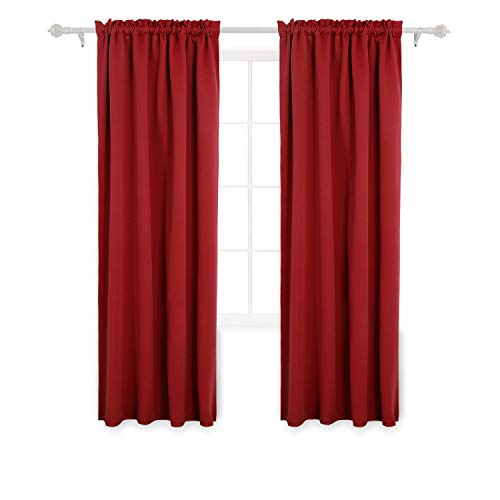 Deconovo Red Blackout Curtains Rod Pocket Drapes Window Curtains for Bedroom True Red 42W x 84L inch 2 Panels