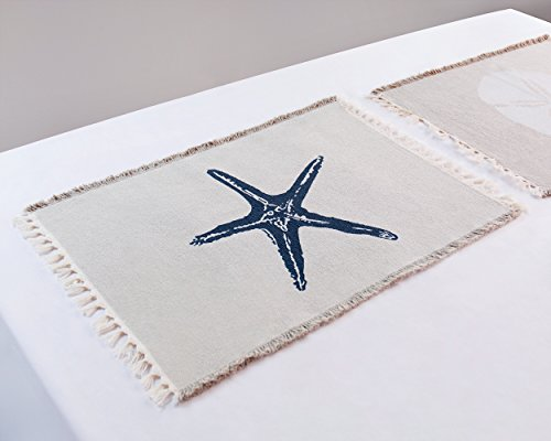 Living Fashions Table Placemats Set By 4 Beach Themed Nautical Kitchen Place Mats For The Dining Table Made With 100% Washable Cotton - Seashell, Sand Dollar, Starfish & Anchor Designs With Fringes by Living Fashions (Image #4)