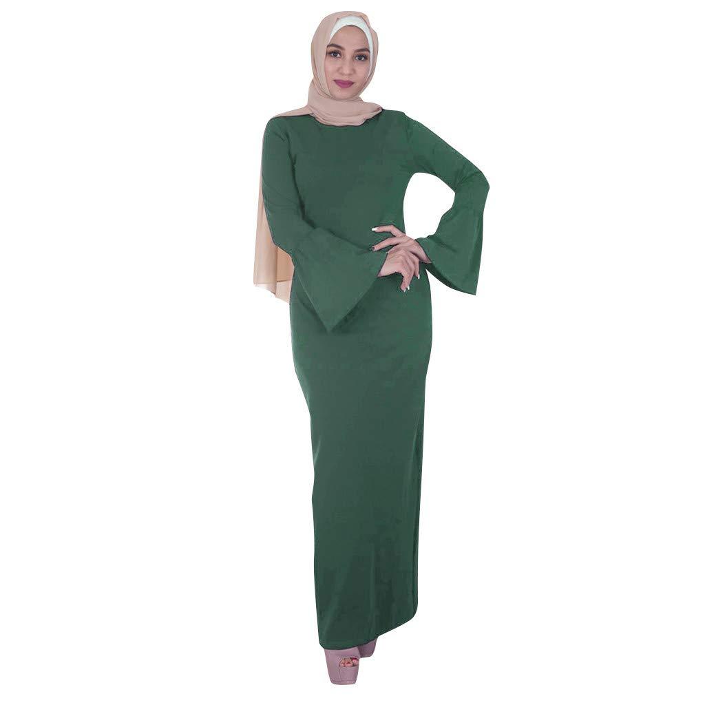 Muslim Women Modest Maxi Dress,Abaya Turkey Elegant Long Robe Kaftan Clothes Basic Solid Trumpet Sleeve O-neck Long Dress (XXL, Green)