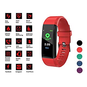 Smart Watch Fitness Tracker Band - Activity & Sleep Monitor for Men Women Kids, Blood Pressure & Heart Rate Monitor, Pedometer, Calorie Counter - Waterproof Wristband w/Android & iPhone App (Red)