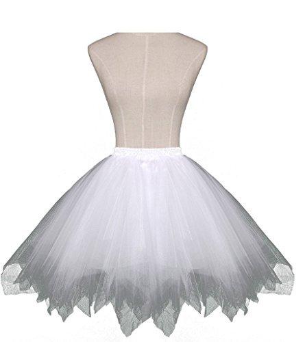 Dresstore Women's Short Vintage Petticoat Skirt Ballet Bubble Tutu Multi-colored White S/M