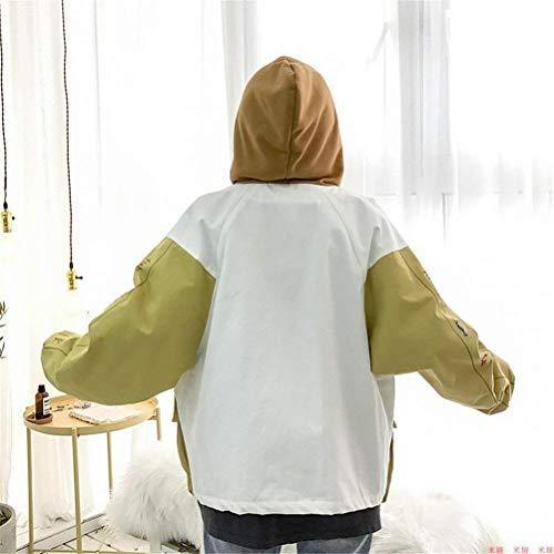 Giacche Ragazze Bomber Eleganti College Donna Autunno Ragazza Maniche Giacca Stampate Moda Lunghe Cappuccio Gelb Casual Chic Tasche Con Relaxed BBrwaZqxzn