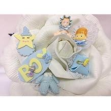 6 Baby Shower Blue Boy Favor Decorations Corsage Keepsake Party Crafts
