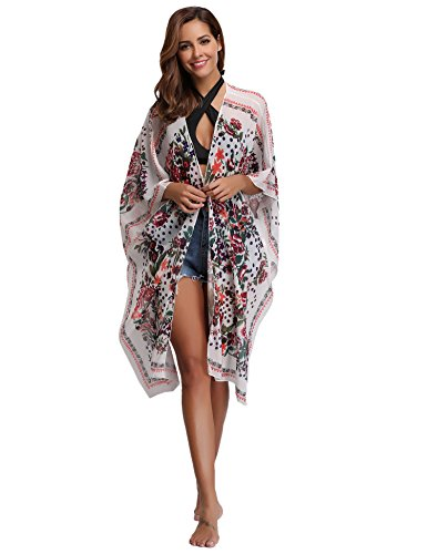 Floral Pareo Long Femme Cardigan Long Boh Ample Veste Robe Ourlet Kimono Plage Poncho Chiffon Casual Gilet znxOB5qw0O