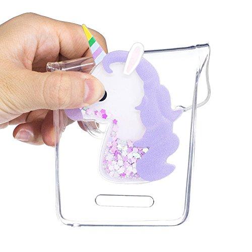 Funda Wiko lenny 2,ToDo 3D Bling Glitter Líquido Silicona Transparente TPU Unicornio Funda Carcasas para Wiko lenny 2,Sparkle Brillar Claro Tapa Caso Ultra Fina Ligero Suave Gel Shock-Absorción Anti-A Púrpura