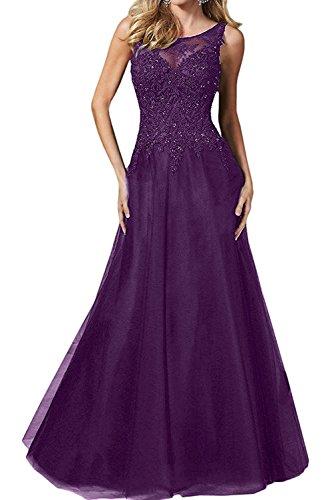 Anmutig Braut Spitze La Mit Royal mia Blau Brautmutterkleider Traube Langes Festlichkleider Partykleider Abendkleider Promkleider EqER6w5