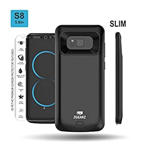 Galaxy S8 Battery Case + 3D PET HD Screen Protector (Not Glass), ZgearZ 5000mAh Slim External Rechargeable Battery Protective Charging Case. Use it as Extended Portable Power Bank Pack for Samsung S8