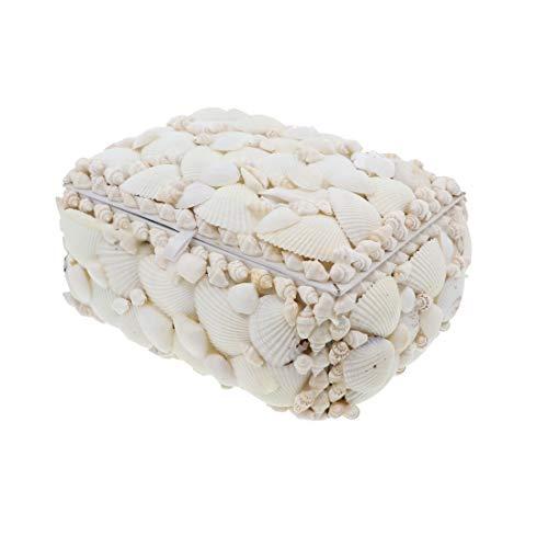 Li'Shay Medium 7 Inch Rectangle Shell Covered Jewelry Box - White Seashells
