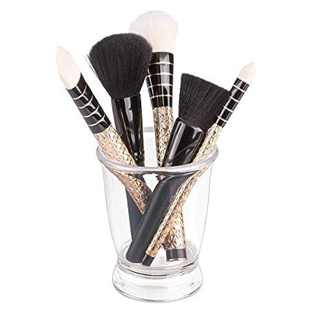 mDesign Portacepillos de dientes - Práctico vaso para enjuague bucal - Soporte para cepillos de dientes y dentífrico, pinceles de maquillaje, máscara, etc.