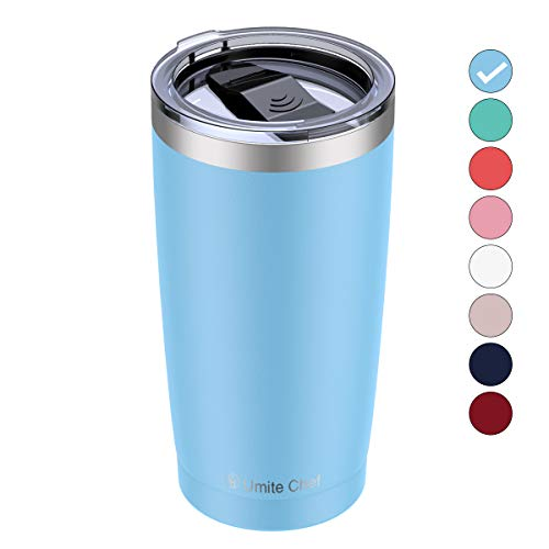 Umite Chef 20oz Stainless Steel Tumbler with Lid, Double Wall Vacuum Insulated Travel Mug Tumbler with Straw, Durable Insulated Coffee Mug for Hiking, Camping & Traveling(Blue)