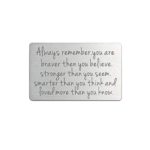 Wallet Insert Card Engraved Encouragement Motivational and Inspirational Name Personalised Hand Stamp Present(Always Remember)