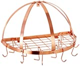 "copper pot rack  Half-Round Pot Rack with Grid & 12 Hooks, Copper, 22"" x 11"" x 12"""