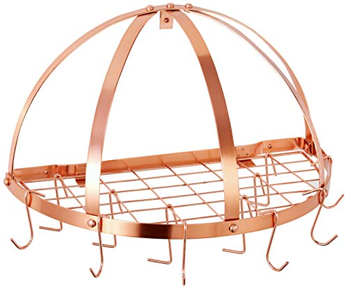 (Old Dutch Half-Round Pot Rack with Grid & 12 Hooks, Copper, 22