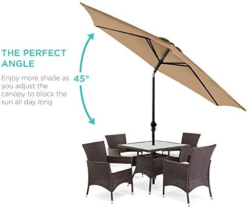 Best Choice Products 10ft Outdoor Table Compatible Steel Polyester Market Patio Umbrella w/Crank and Easy Push Button Tilt