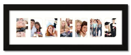 "6x20 Black 1"" Wide Picture Frame with ""FRIENDS"" Collage Mat"