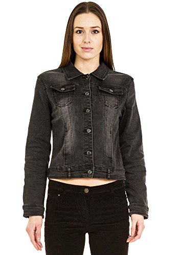 Sarah John New Ladies Womens Black Faded Grey Fitted Stretch Denim Jacket Jeans Jacket US 6 (UK (Faded Stretch Jacket)