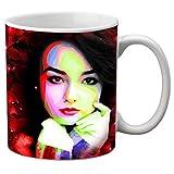 meSleep Girl Printed Ceramic Mug Black Large Mug Mugs with Handle Kitchen Accessories Gift Item
