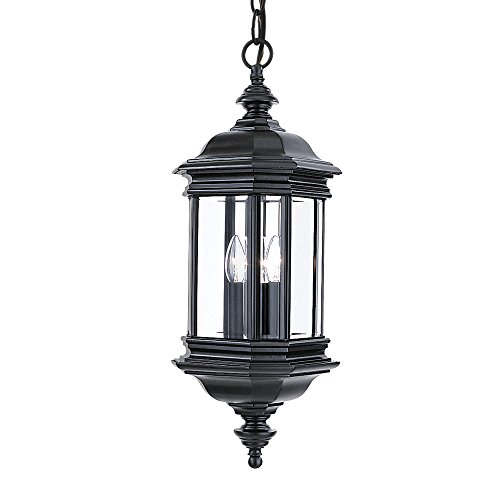 Sea Gull Lighting 6637-12 Hill Gate Three-Light Outdoor Pendant with Clear Beveled Glass Panels, Black - Gate Sea Gull Lighting Hill