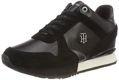 Femme Basses Wedge Hilfiger 990 Sneakers Tommy Camo Noir Black Sneaker Metallic FHnYO0