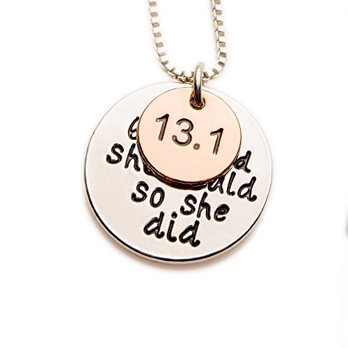 13.1K Marathon Silver Pendant Necklace, She Believed She Could So She Did Necklace, Motivational Running Jewelry Achievement Necklace (Marathon Necklace)