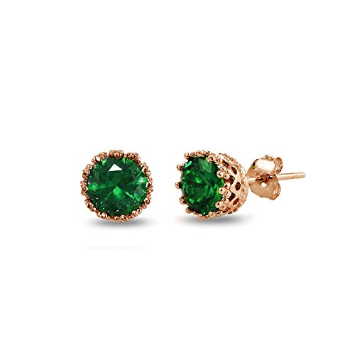 Amethyst Emerald Earrings - Rose Gold Flashed Sterling Silver Simulated Emerald Crown Stud Earrings