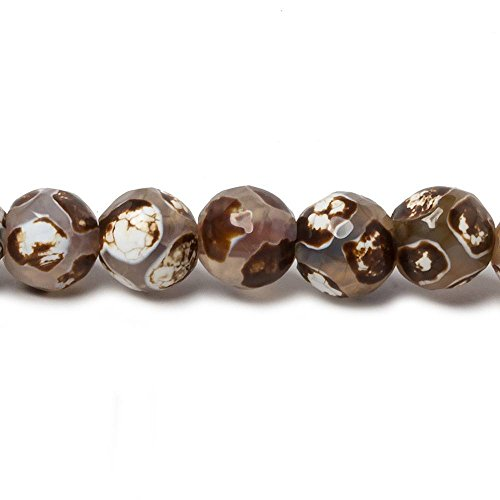 Tibetan Comb - 8mm Brown & Grey Honeycomb Tibetan Agate faceted rounds 15 inch 47 beads