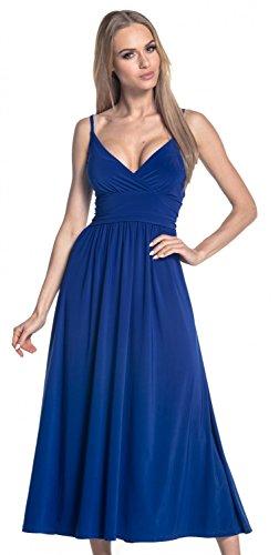 Glamour Empire Para Mujer Vestido Maxi Vuelo Sedoso Tirantes Cuello de Pico. 276 Azul Real