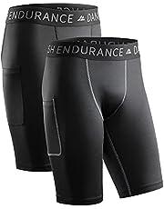 DANISH ENDURANCE Kompressionsshorts för män, träningsshorts, träningstights med ficka, underlager som andas, för löpning och träning, Quick-dry, 2-pack