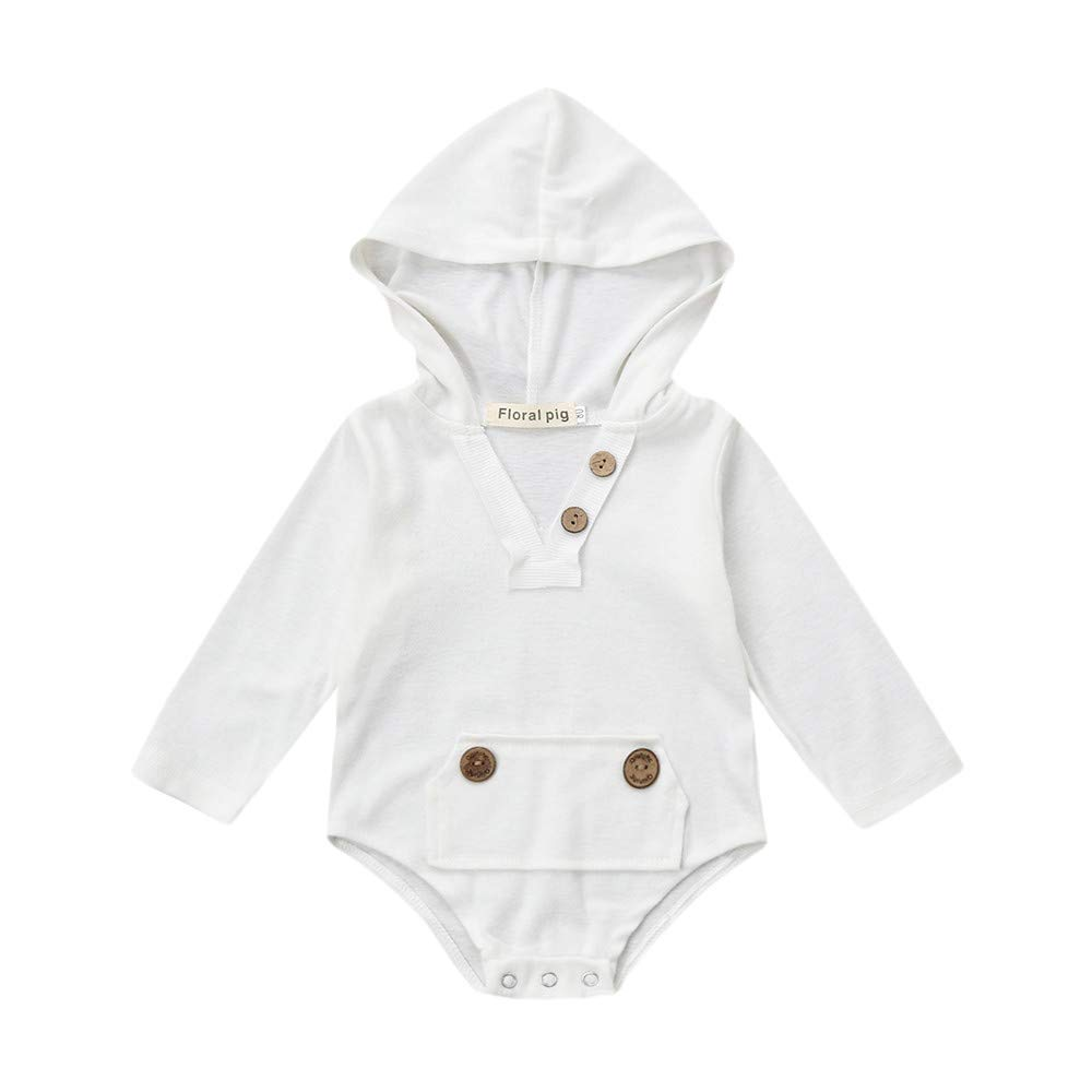 4c797197ccc8 Amazon.com  Lurryly❤Boys Long Sleeve Hooded Romper Jumpsuit Newborn Baby  Clothes Outfits 0-18M  Clothing
