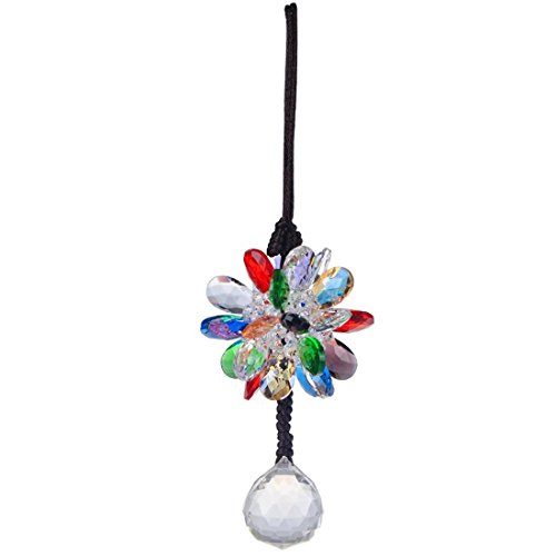 H&D Crystal Car Charm Rear View Mirror Hanging Crystal Flower and Ball Prism Pendant - Good Luck Car Interior Decor - Chakra Cascade Suncatcher Home Wedding Decoration (Length:13 inch) ()