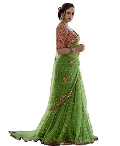 Natural Creation Women Net Embroidery Saree With Blouse Pics (Saree For Women Party Wear Half Sarees Offer Designer Under 300 Combo Art Silk 2018 In L