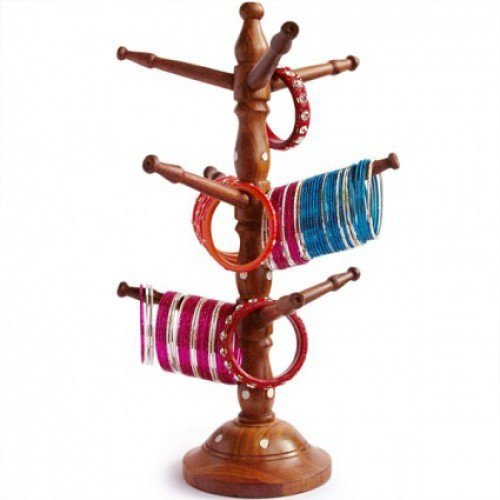 Valentine Day Special Present, Wooden Bangles Stand, Bangle Hanger, Bracelet Holder, Tower Bangle Hanging, Brown Color Size 13 X 6.8 (Basket Bangle Bracelet)
