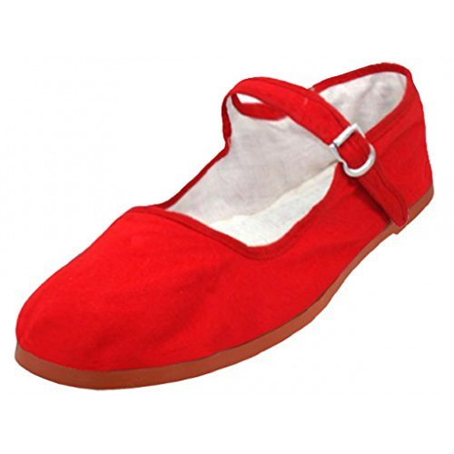 Shoes 18 Womens Cotton China Doll Mary Jane Shoes Ballerina Ballet Flats Shoes (6, 114 Red Canvas) ()